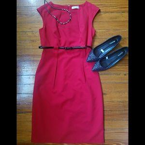 Calvin Klein Red Cap Sleeve Cocktail Dress w/belt